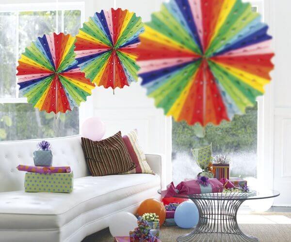 Honeycomb Paper Fan Multi 45cm