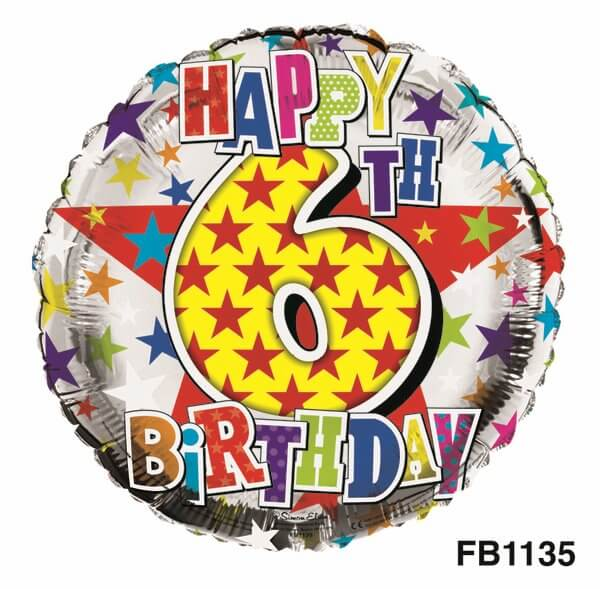Balloon Foil - Happy Birthday 6th Unisex