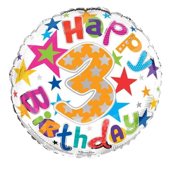 Balloon Foil - Happy Birthday 3th Unisex